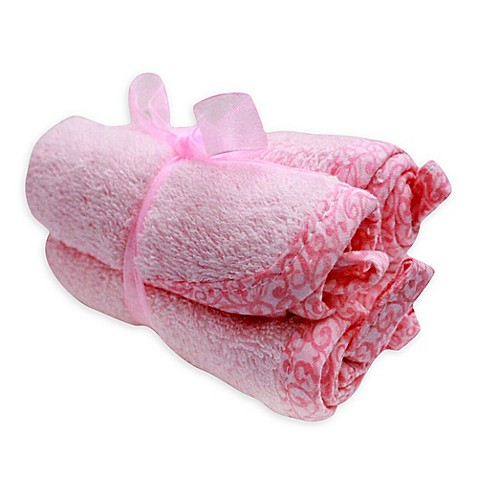 Frenchie Mini Couture Washcloth with Swirl Print Binding in Pink (4-Pack)