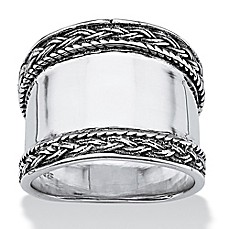 image of Palm Beach Jewelry Sterling Silver Cigar Band Ladies' Ring