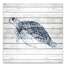 Artissimo Designs™ Blue Turtle On Wood 18 Inch Square Canvas Wall Art