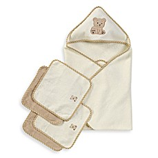 image of Spasilk® Hooded Towel with Matching Washcloths - Teddy Bear