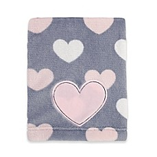 image of Little Love by NoJo® Hugs and Kisses Fleece Blanket in Grey/Pink
