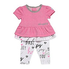 image of Boppy® Happy Baby 2-Piece Short Sleeve Top and Pant Set in Pink