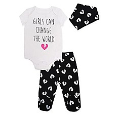 image of Mini Heroes 3-Piece World Heart Bodysuit, Pant, and Bandana Set