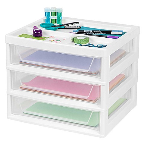 Iris 3 Drawer Scrapbook Table Chest In White Bed Bath Beyond