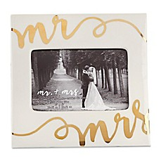 image of Kate Aspen® Ceramic Mr. & Mrs. Frame in White/Gold
