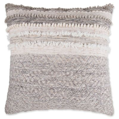 image of Wool Blend Square Throw European Pillow in Grey/Cream