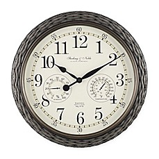 image of Indoor/Outdoor Faux Rattan Wall Clock with Thermometer in Grey