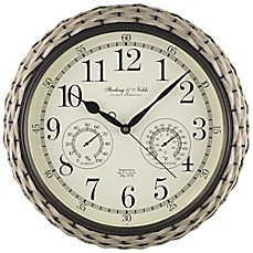 image of Sterling & Noble 15.5-Inch Indoor/Outdoor Woven Wall Clock
