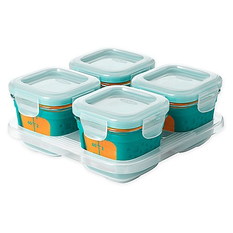 oxo tot 4 oz glass baby food storage blocks with silicone sleeves in teal set of 4 buybuy baby. Black Bedroom Furniture Sets. Home Design Ideas