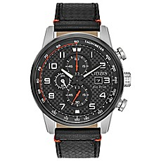 image of Citizen® Eco-Drive 45mm Primo Chronograph Watch in Stainless Steel w/Black Leather Strap