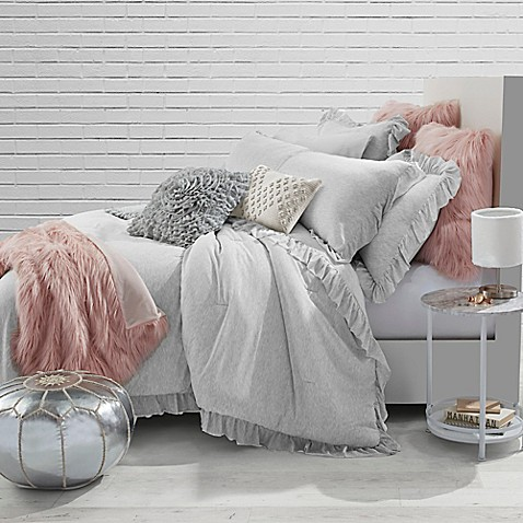 Jersey Knit Ruffle Twin Comforter Set In Light Grey Bed