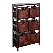 leo 3 tier shelf with 5 wire frame baskets - Baskets For Bookshelves