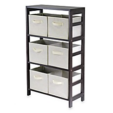 image of Capri 3-Tier Shelf with 6 Foldable Baskets in Beige