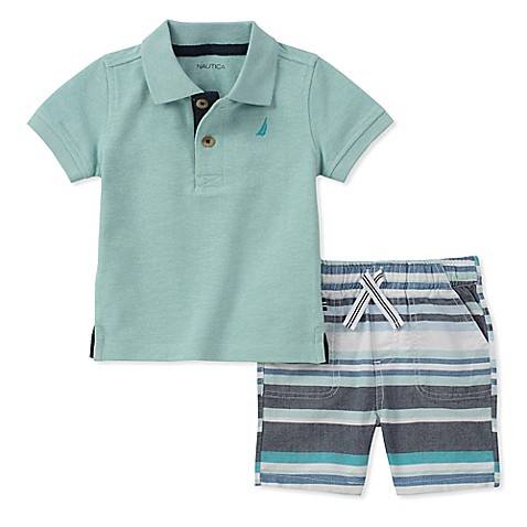 Nautica 2 piece polo shirt and striped short set in mint for Mint color polo shirt
