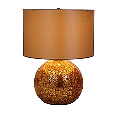 image of Catalina Mercury Glass Table Lamp in Brass with Gold Shade