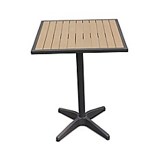 Bar height folding table bed bath beyond steel outdoor slat top 27 inch square bar height table watchthetrailerfo