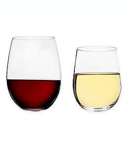 Copas de vino sin tallo de vidrio Riedel® O Cabernet/Merlot + Viognier/Chardonnay, Set de 8 pzas.