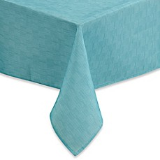 image of Mason Indoor/Outdoor Tablecloth with Umbrella Hole in Aqua