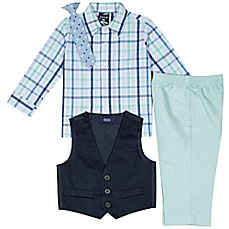 image of Izod® 4-Piece Shirt, Pants, Vest and Tie Set in Green