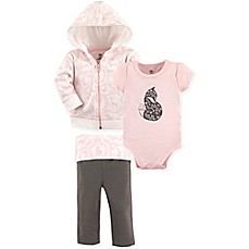 image of Yoga Sprout 3-Piece Fox Jacket, Bodysuit, and Pant Set in Pink
