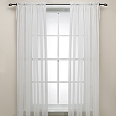 image of Eggshell Rod Pocket Sheer Window Curtain Panel