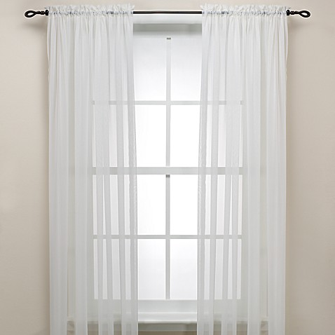 Decorating sheer panels for windows : Eggshell Rod Pocket Sheer Window Curtain Panel - Bed Bath & Beyond