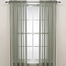 image of Sage Rod Pocket Sheer Window Curtain Panel