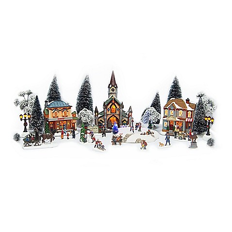 Christmas Village 30 Piece Battery Operate Set Bed Bath