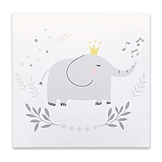 image of Hello Spud Elephant 8-Inch Square Canvas Wall Art in Grey