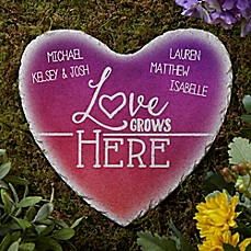 image of Love Grows Here Heart Garden Stone