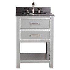 image of Avanity Brooks 25-Inch Vanity Combo with Black Granite Top and Mirror in Grey