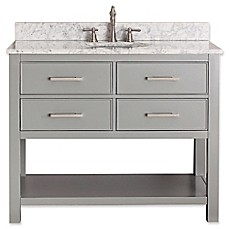 image of Avanity Brooks 43-Inch Vanity Combo with White Marble Top and Mirror in Grey