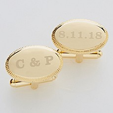 image of Wedding Date Engraved Gold Cufflinks