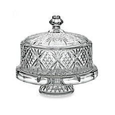 image of Godinger Dublin Crystal 4- in -1 Footed Cake Plate with Dome Cover