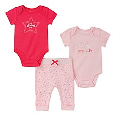 image of Absorba 3-Piece Star Bodysuit and Pant Set in Pink