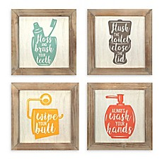 Attractive Stratton Home Decor Floss, Flush, Wipe, Wash 10 Inch Square Framed Wall
