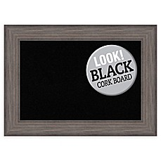 image of Amanti Art Black Cork Board with Country Barnwood Frame in Rustic Grey