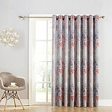 Sun Zero Allena Rod Pocket Room Darkening Sliding Door Curtain Panel in Grey & Door Curtains | Bed Bath u0026 Beyond