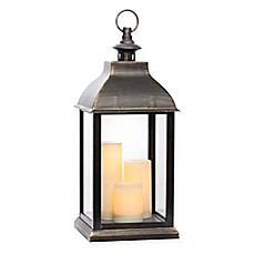 image of Jumbo Triple-Light LED Lantern in Antique Gold