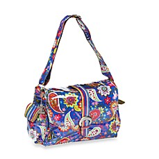 image of Kalencom Laminated Single Buckle Diaper Bag in Cobalt Paisley