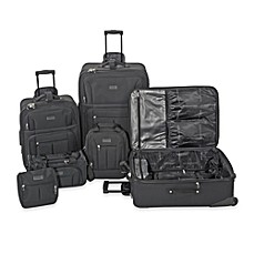 image of Geoffrey Beene 6-Piece Main Street Luggage Set in Black
