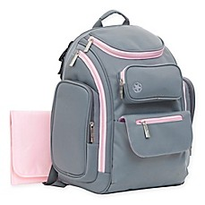 image of J is for Jeep® Places & Spaces Backpack Diaper Bag in Pink/Grey