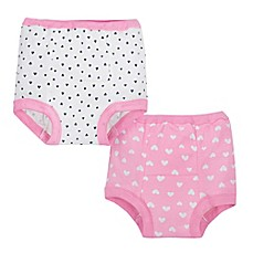 image of Gerber® 2-Pack Cloth Training Pants in Pink/White