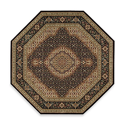 "Nourison Persian Arts 5'3"" x 5'3"" Machine Woven Octagon Rug in Black"