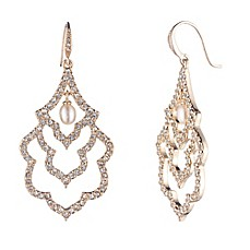 image of Carolee Goldtone Cubic Zirconia and Simulated Pearl Scalloped Drop Earrings