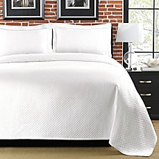 image of Diamante Matelasse Coverlet in White