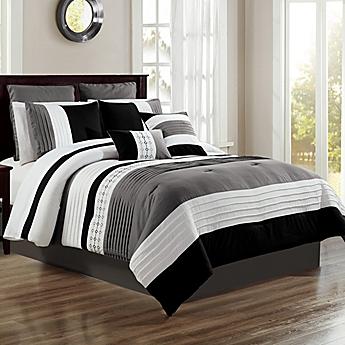 image of logan 12 piece comforter set - Black And White Comforter Set