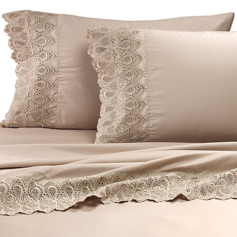 Buy Easy Care Lace California King Sheet Set in Linen from ...