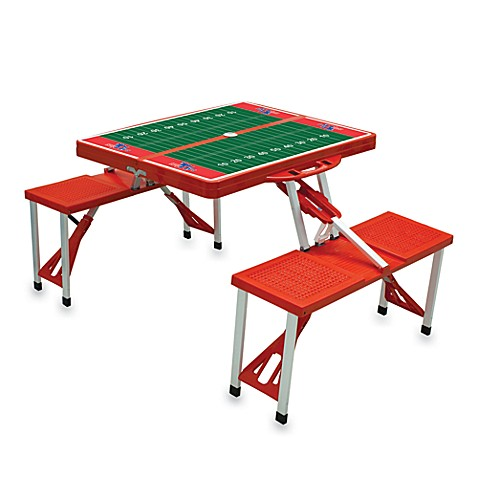 Picnic Time® Louisiana Tech Collegiate Foldable Table with Seats in Blue