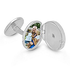 image of With You Lockets Ryan Sterling Silver Photo Locket Cufflinks